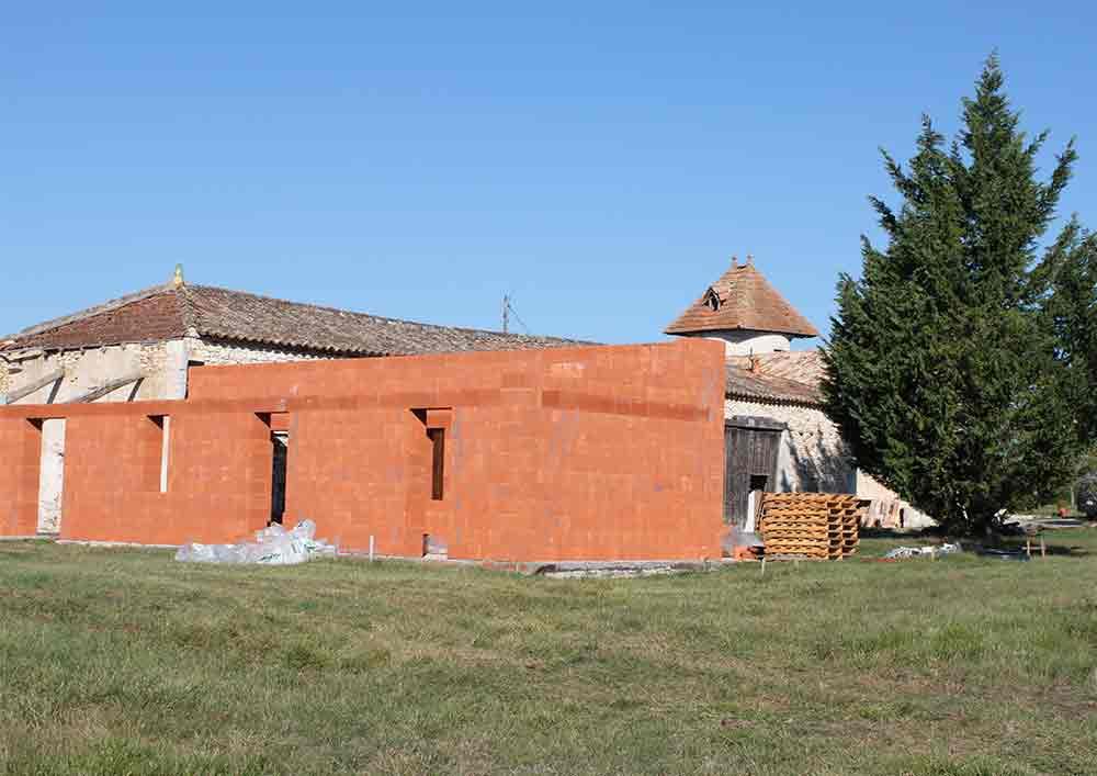 Chantier extension en briques terre cuite